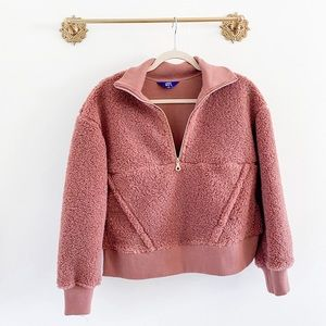 Joylab Target Pink Sherpa Half Zip Pullover